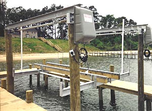 Overhead beam boat lifts